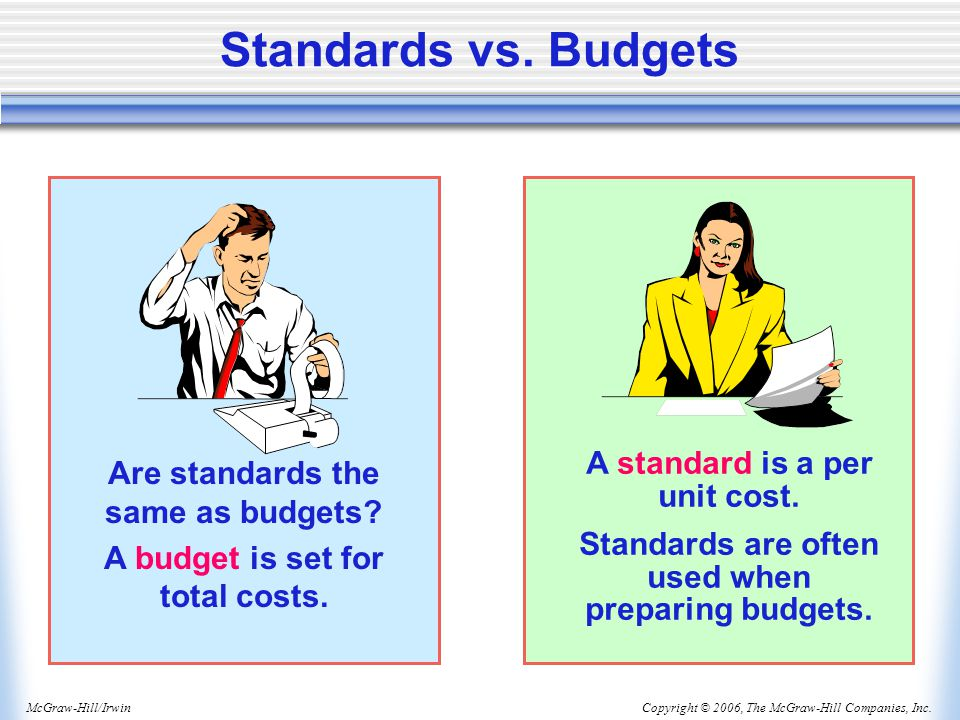 Standards vs. Budgets A standard is a per unit cost.