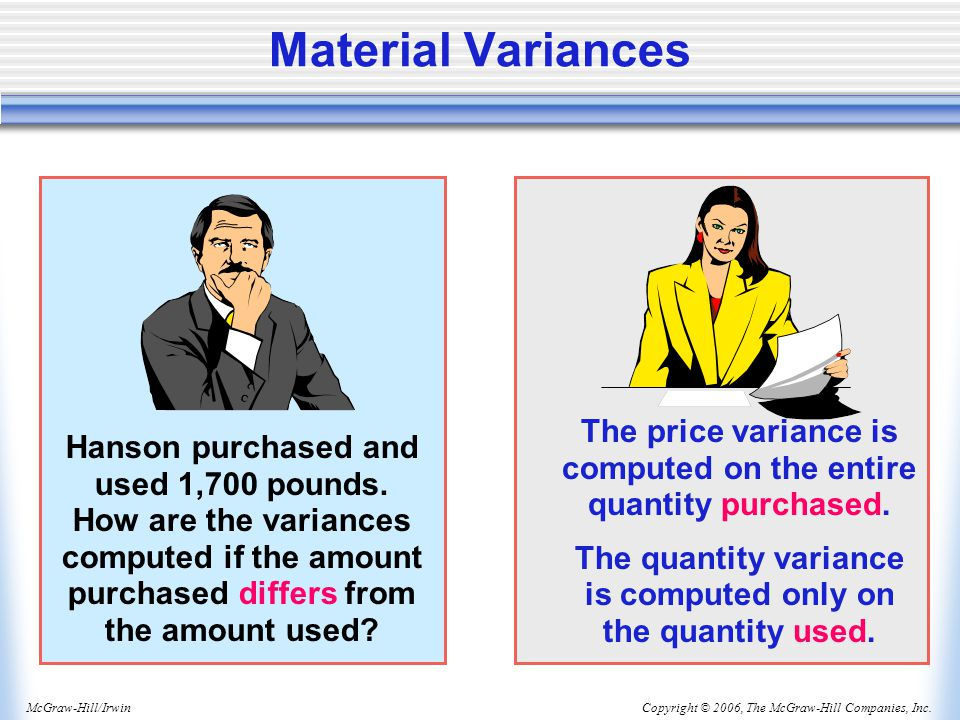 Material Variances The price variance is computed on the entire quantity purchased. The quantity variance is computed only on the quantity used.