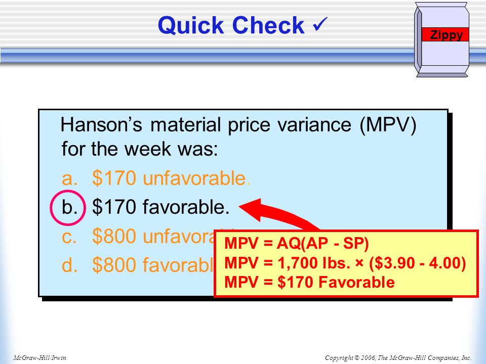 Quick Check  Hanson's material price variance (MPV) for the week was: