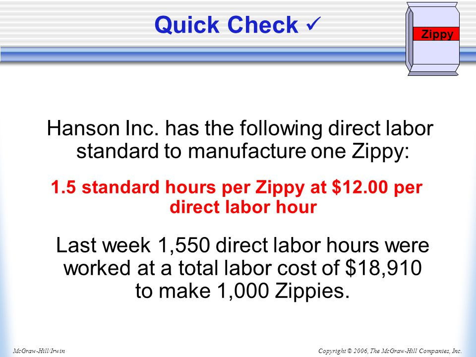 1.5 standard hours per Zippy at $12.00 per direct labor hour