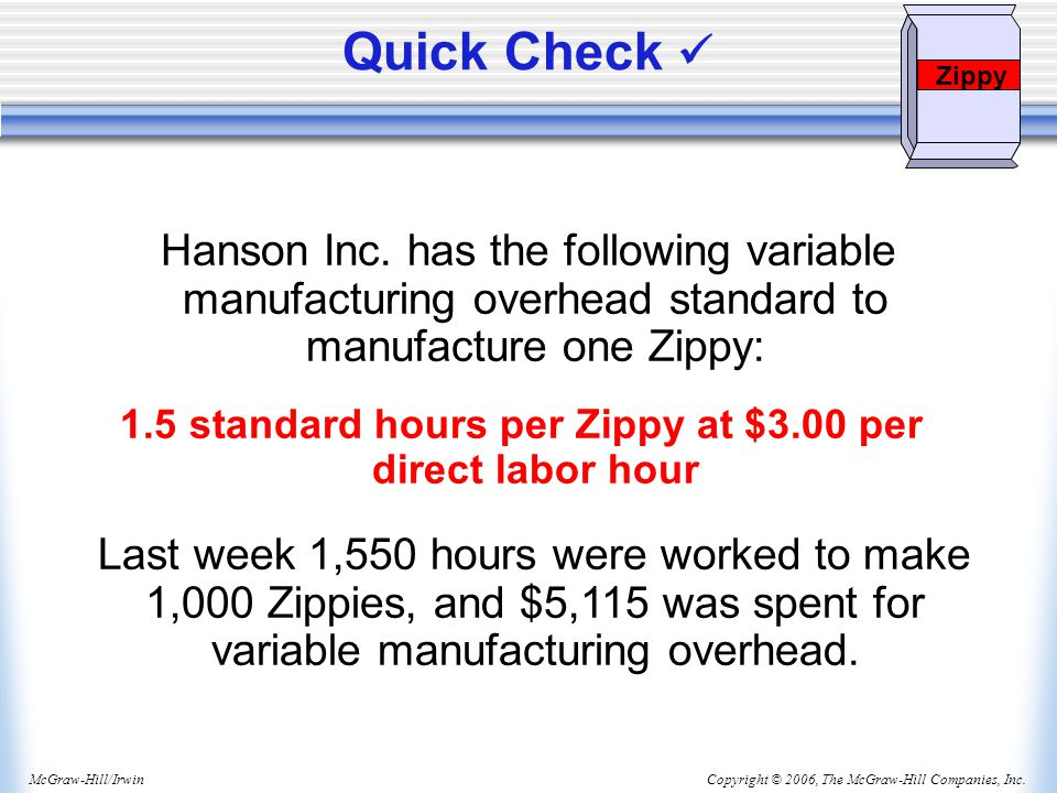 1.5 standard hours per Zippy at $3.00 per direct labor hour