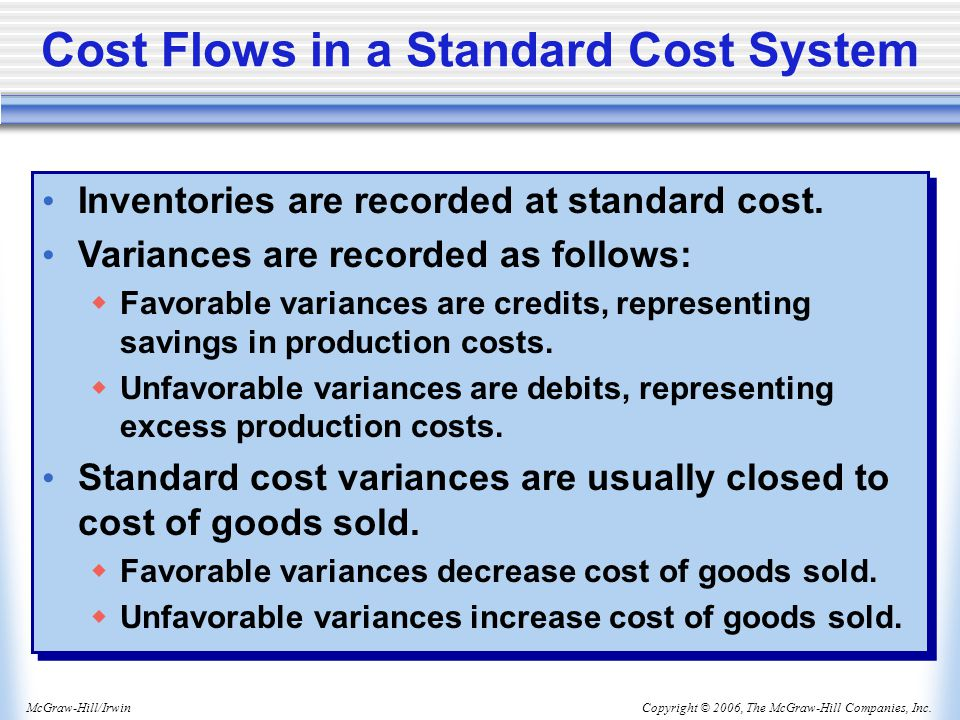 Cost Flows in a Standard Cost System
