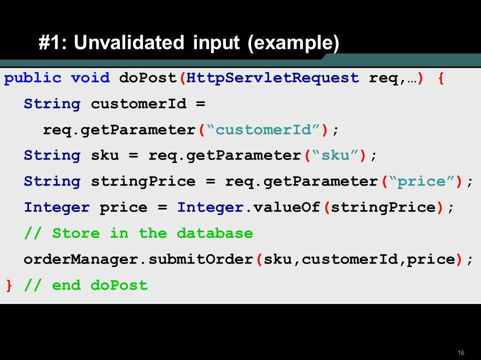 #1: Unvalidated input (example)