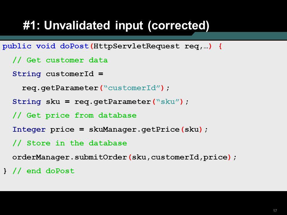 #1: Unvalidated input (corrected)