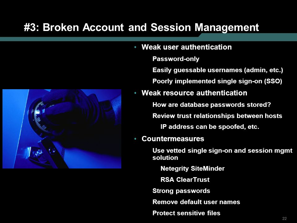 #3: Broken Account and Session Management