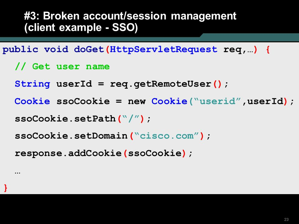 #3: Broken account/session management (client example - SSO)