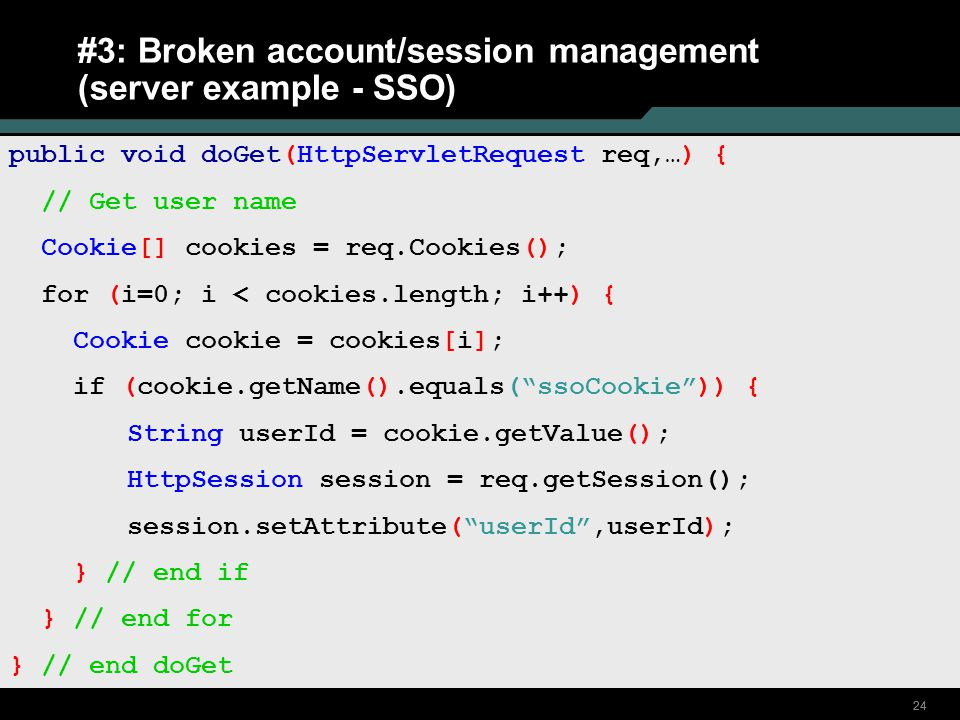 #3: Broken account/session management (server example - SSO)