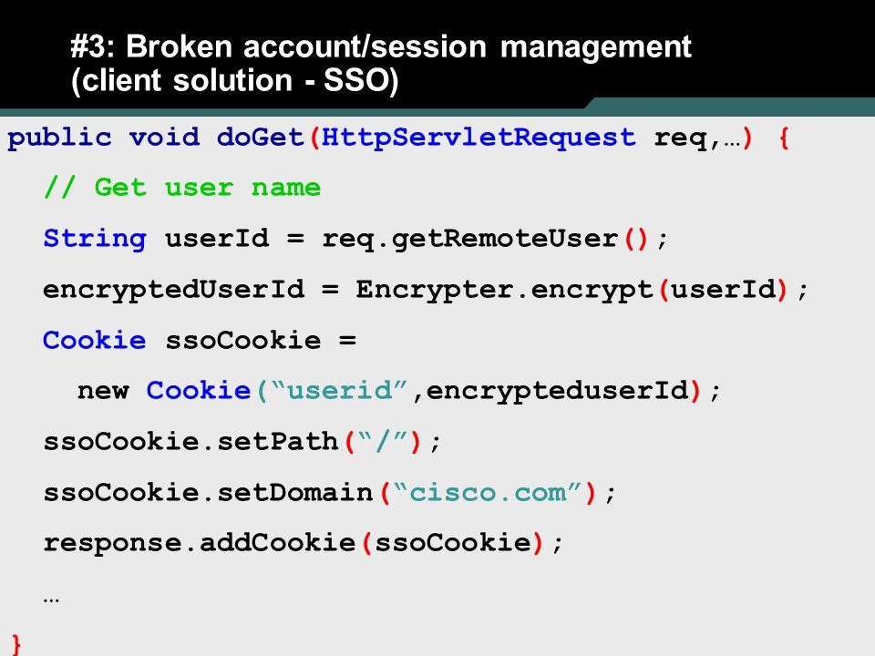 #3: Broken account/session management (client solution - SSO)