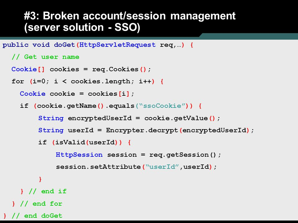 #3: Broken account/session management (server solution - SSO)