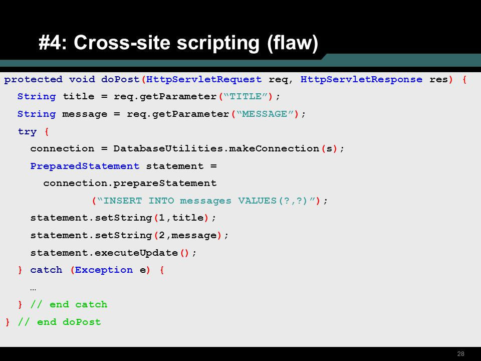 #4: Cross-site scripting (flaw)