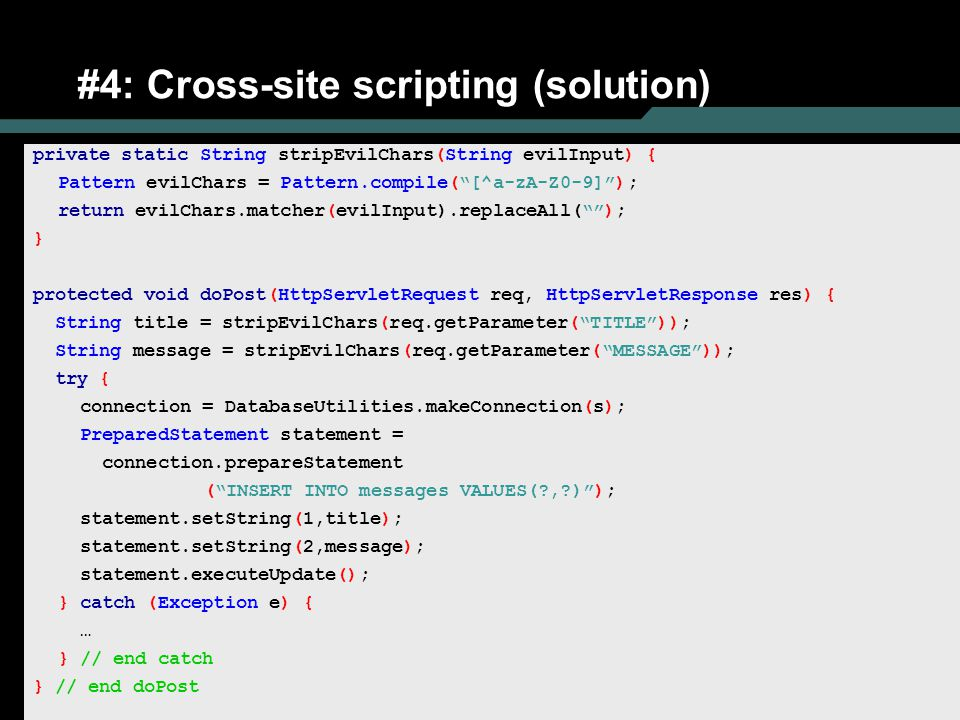 #4: Cross-site scripting (solution)