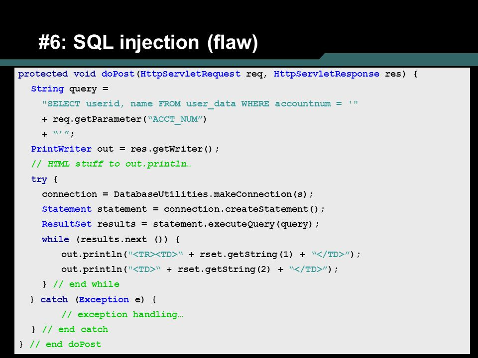 #6: SQL injection (flaw)