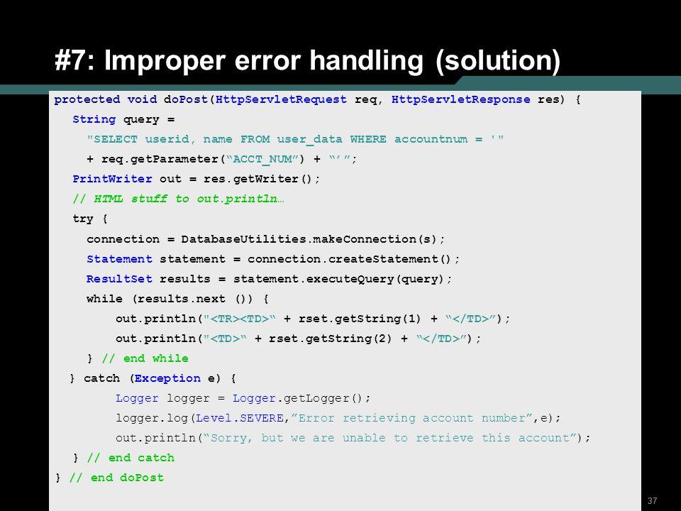 #7: Improper error handling (solution)