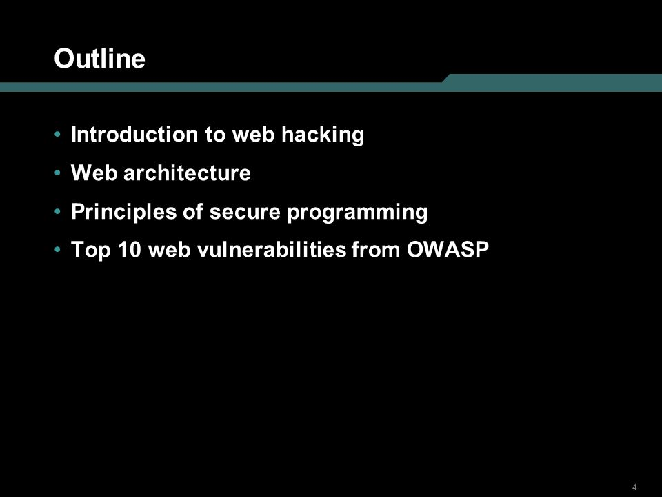 Outline Introduction to web hacking Web architecture