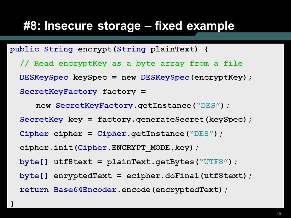#8: Insecure storage – fixed example