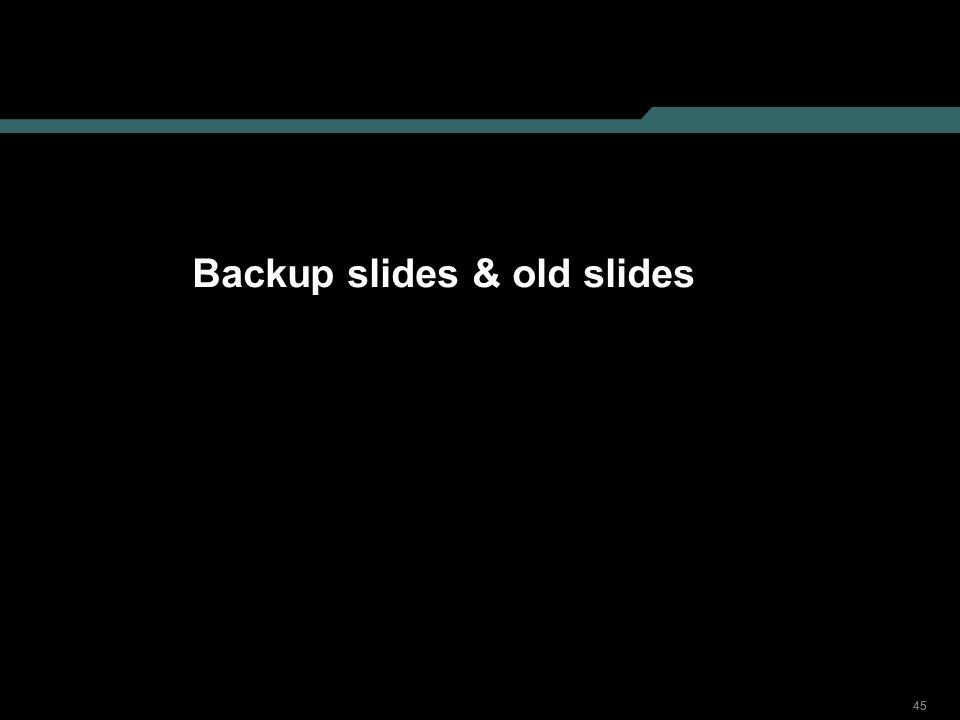 Backup slides & old slides