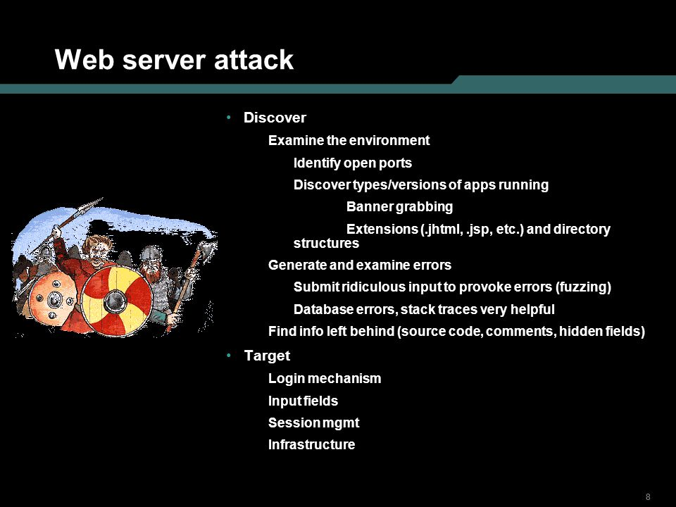 Web server attack Discover Target Examine the environment