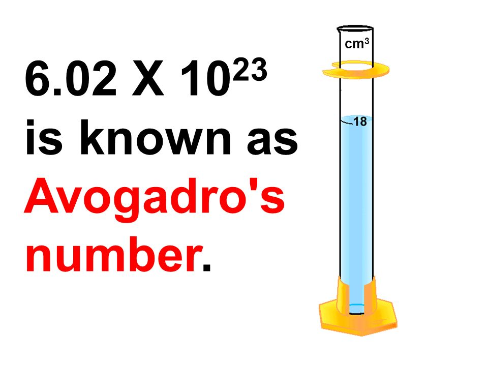 cm X 1023 is known as Avogadro s number.