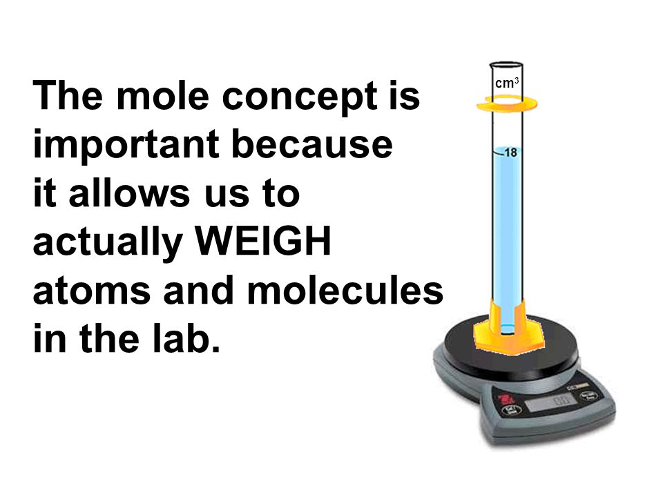 The mole concept is important because it allows us to actually WEIGH