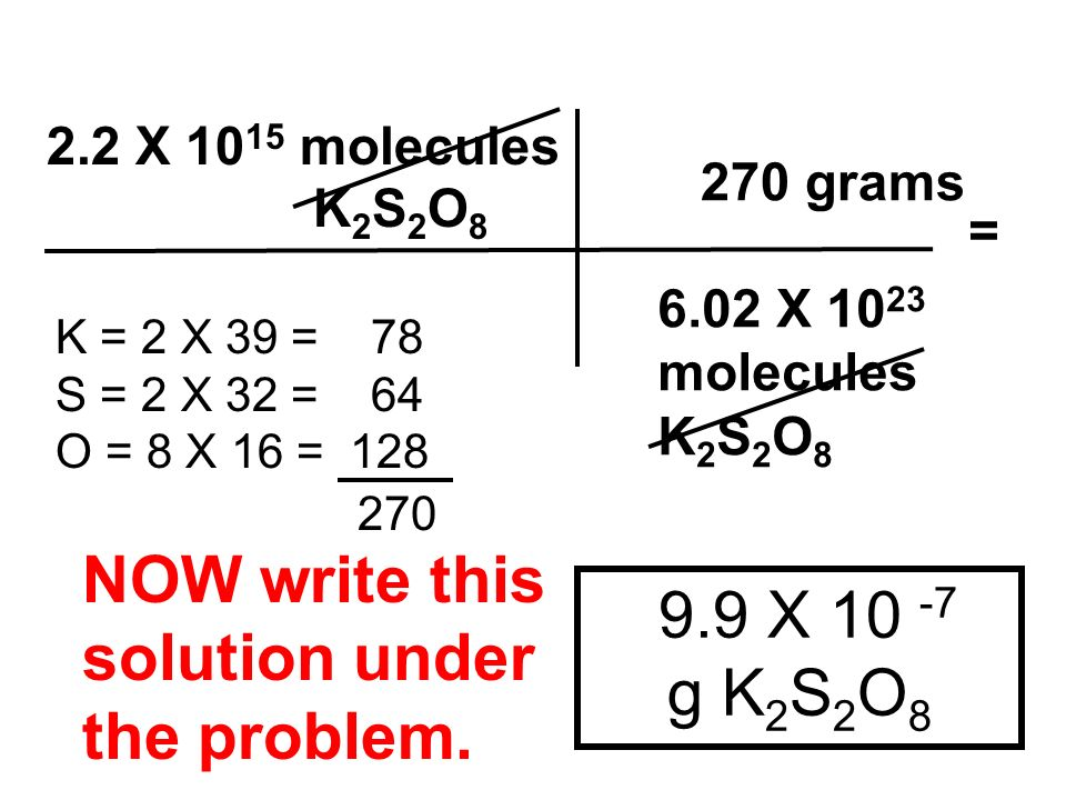 NOW write this solution under 9.9 X 10 -7 g K2S2O8 the problem.