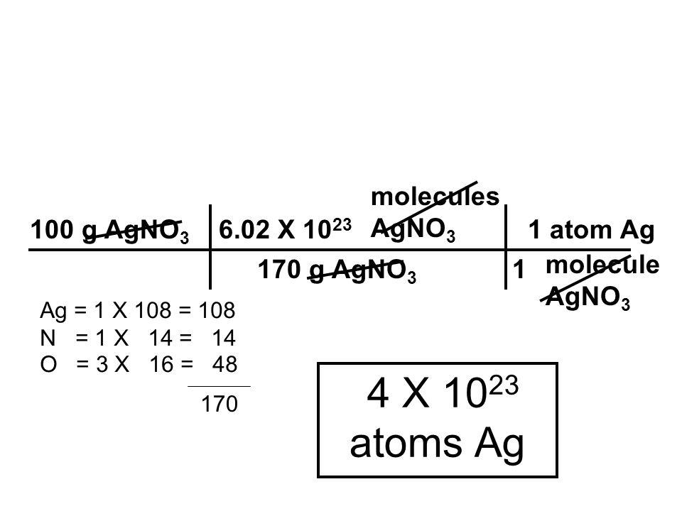 4 X 1023 atoms Ag molecules AgNO3 100 g AgNO3 6.02 X 1023 1 atom Ag