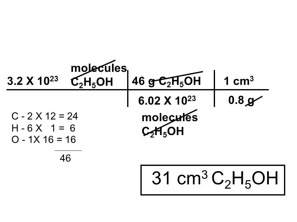 31 cm3 C2H5OH molecules C2H5OH 3.2 X 1023 46 g C2H5OH 1 cm3