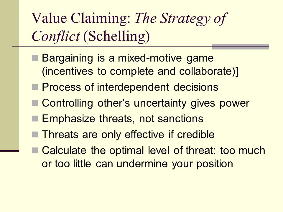 Value Claiming: The Strategy of Conflict (Schelling)