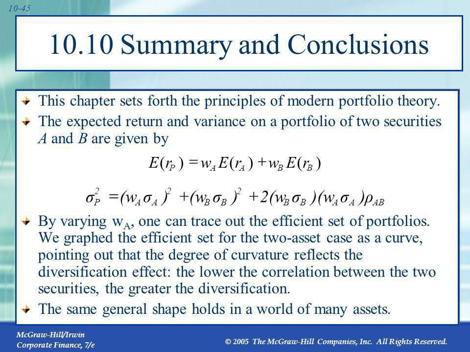 10.10 Summary and Conclusions