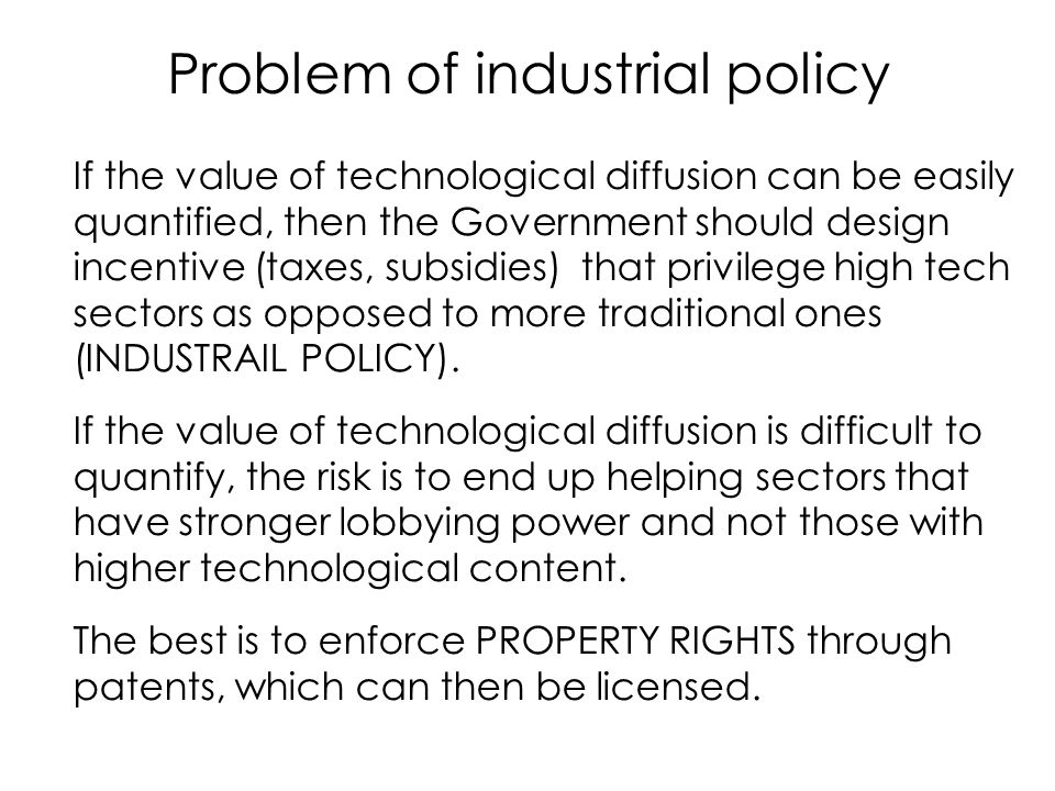Problem of industrial policy