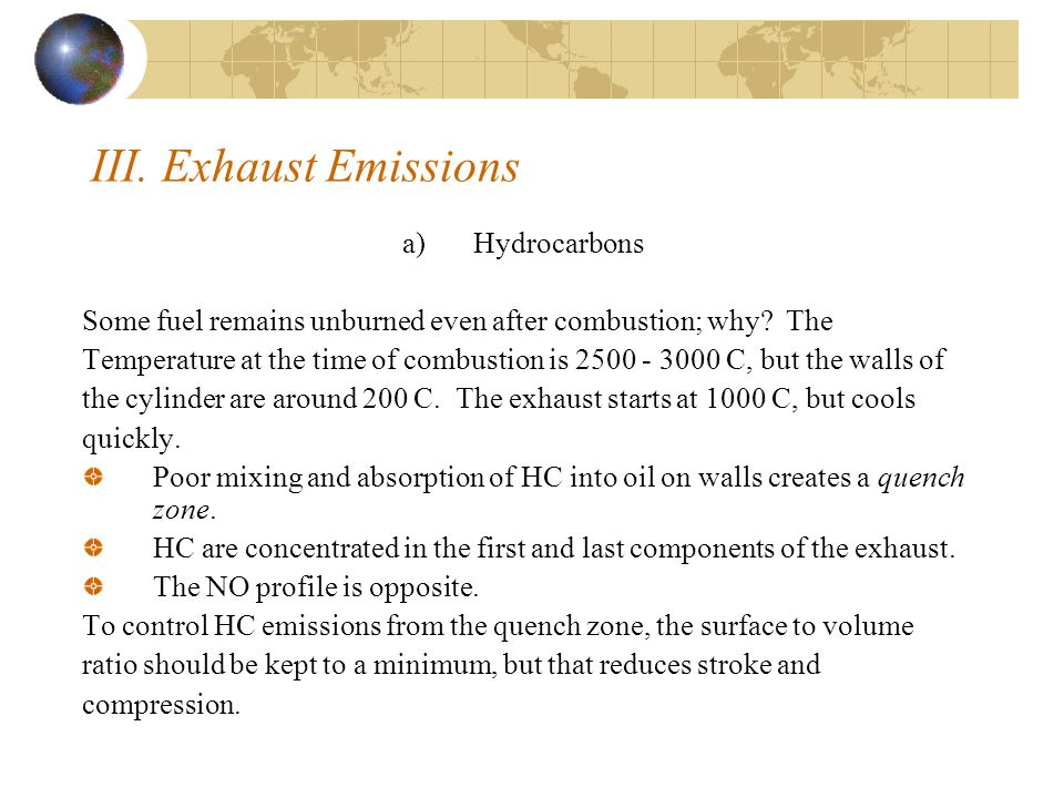 III. Exhaust Emissions Hydrocarbons