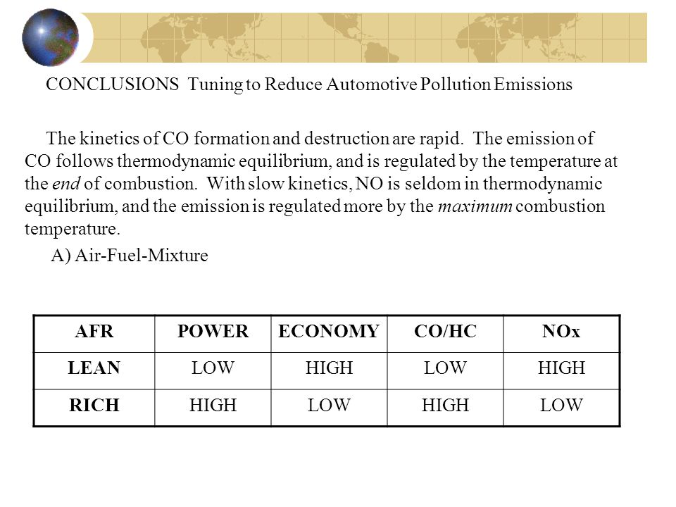 CONCLUSIONS Tuning to Reduce Automotive Pollution Emissions The kinetics of CO formation and destruction are rapid. The emission of CO follows thermodynamic equilibrium, and is regulated by the temperature at the end of combustion. With slow kinetics, NO is seldom in thermodynamic equilibrium, and the emission is regulated more by the maximum combustion temperature. A) Air-Fuel-Mixture