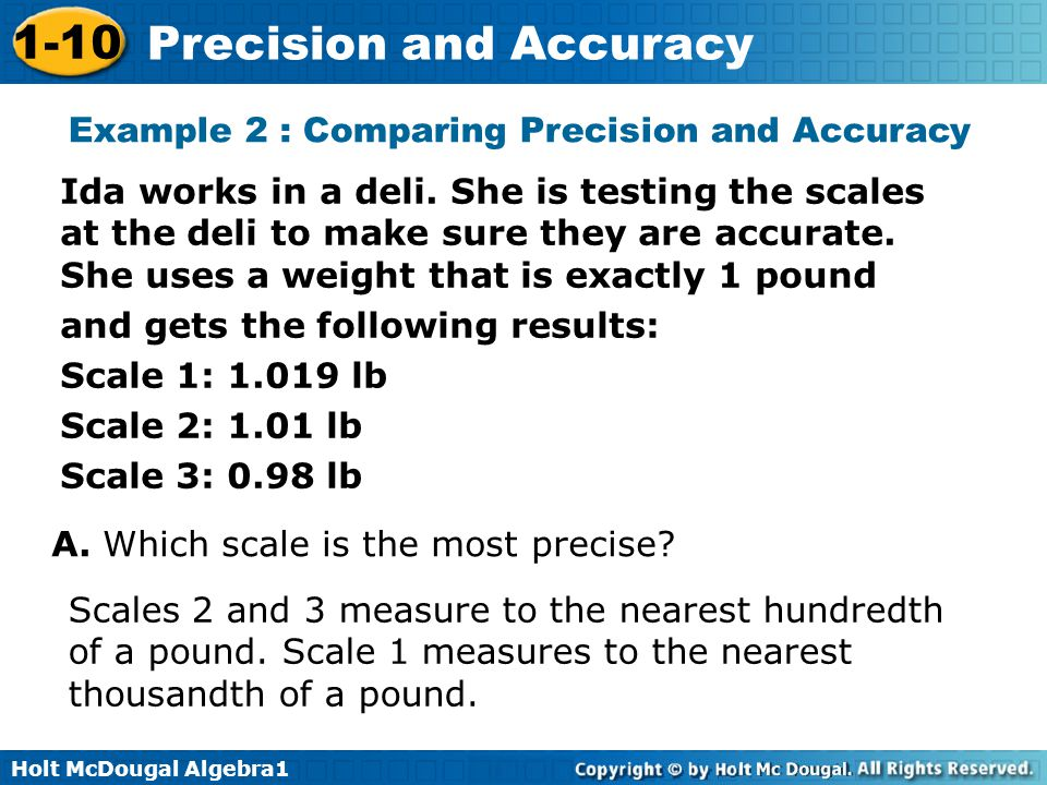 Example 2 : Comparing Precision and Accuracy
