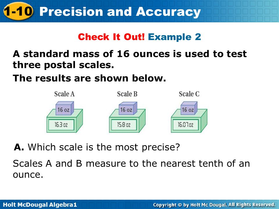 Check It Out! Example 2 A standard mass of 16 ounces is used to test three postal scales. The results are shown below.