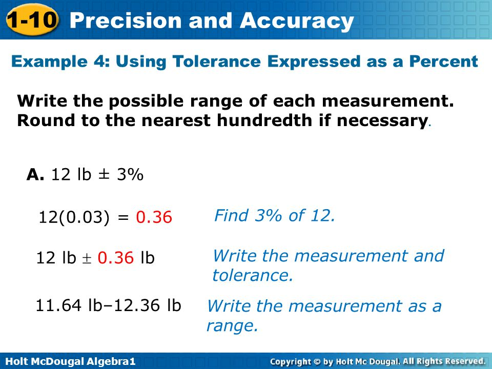 Example 4: Using Tolerance Expressed as a Percent