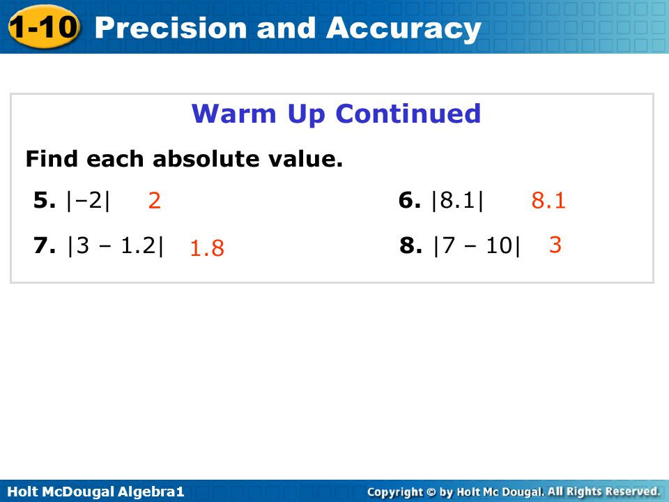 Warm Up Continued Find each absolute value. 5. |–2| 6. |8.1|
