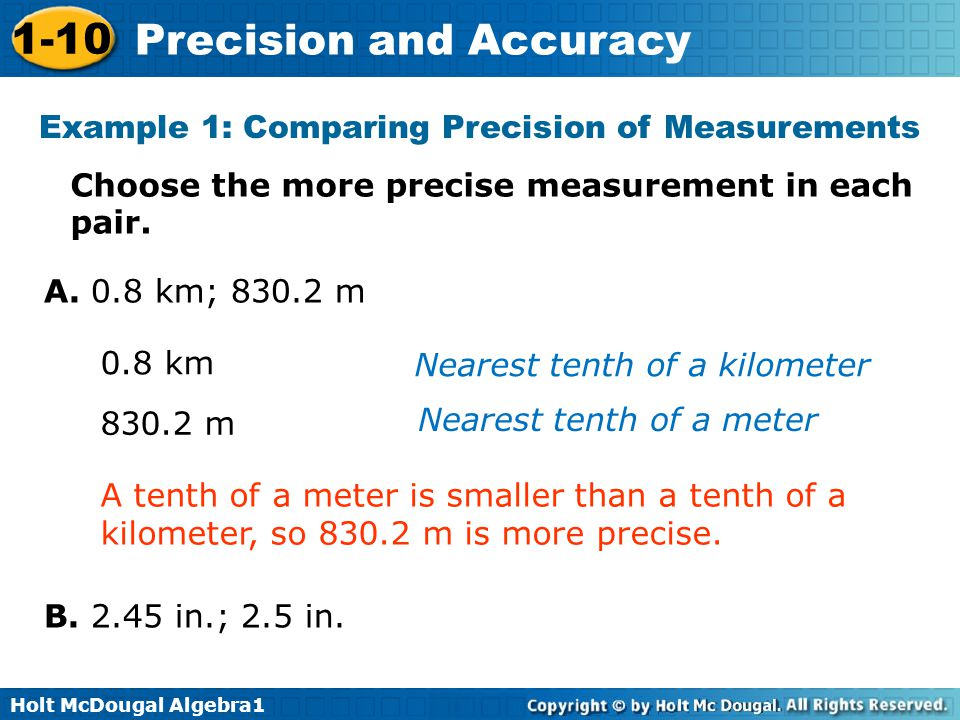 Example 1: Comparing Precision of Measurements