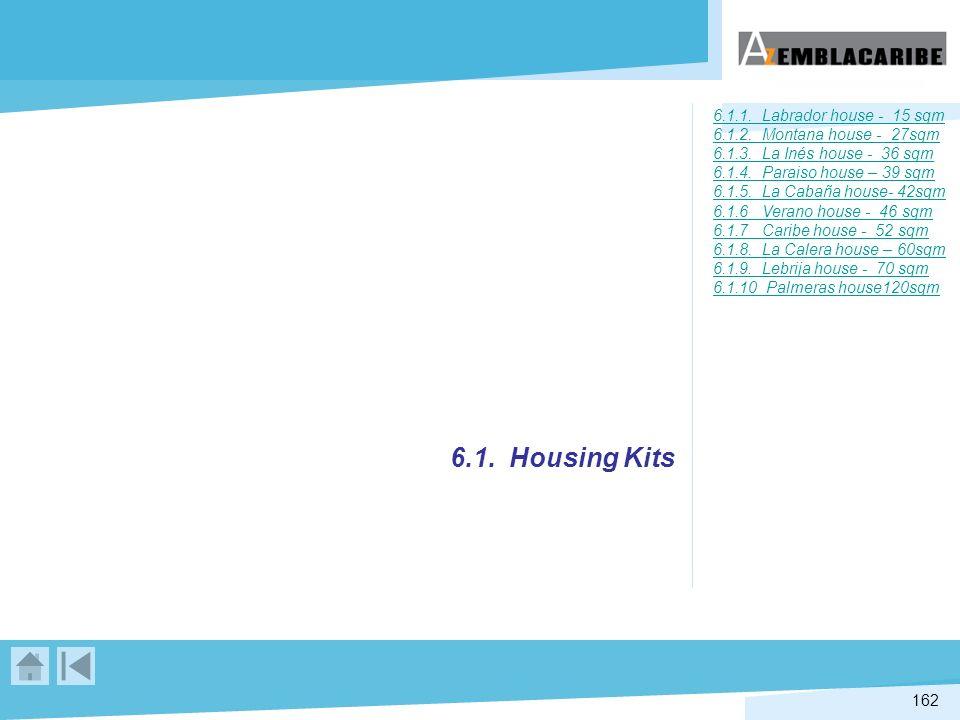 6.1.1. Labrador house - 15 sqm 6.1.2. Montana house - 27sqm 6.1.3. La Inés house - 36 sqm 6.1.4. Paraiso house – 39 sqm 6.1.5. La Cabaña house- 42sqm 6.1.6 Verano house - 46 sqm 6.1.7 Caribe house - 52 sqm 6.1.8. La Calera house – 60sqm 6.1.9. Lebrija house - 70 sqm 6.1.10 Palmeras house120sqm