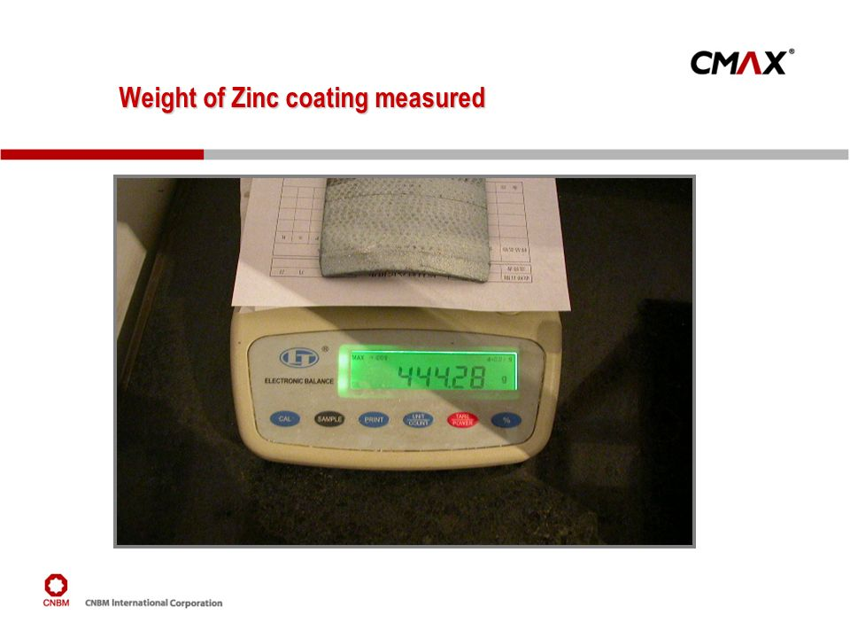 Weight of Zinc coating measured