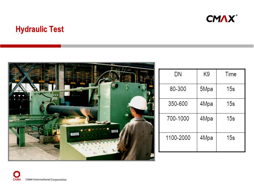 Hydraulic Test DN K9 Time 80-300 5Mpa 15s 350-600 4Mpa 700-1000