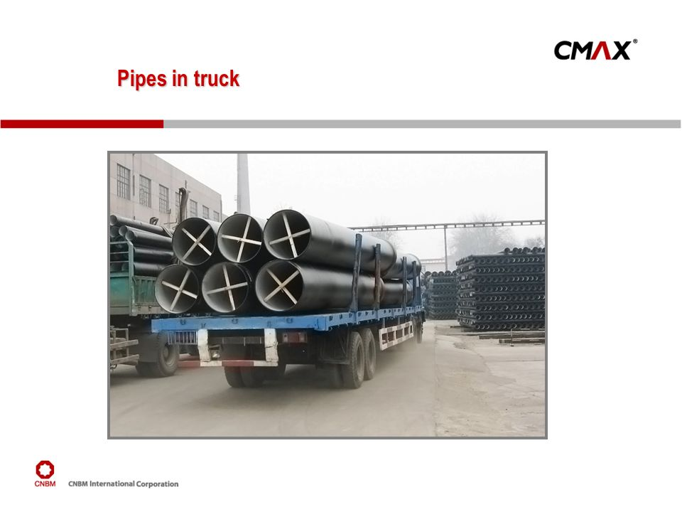 Pipes in truck