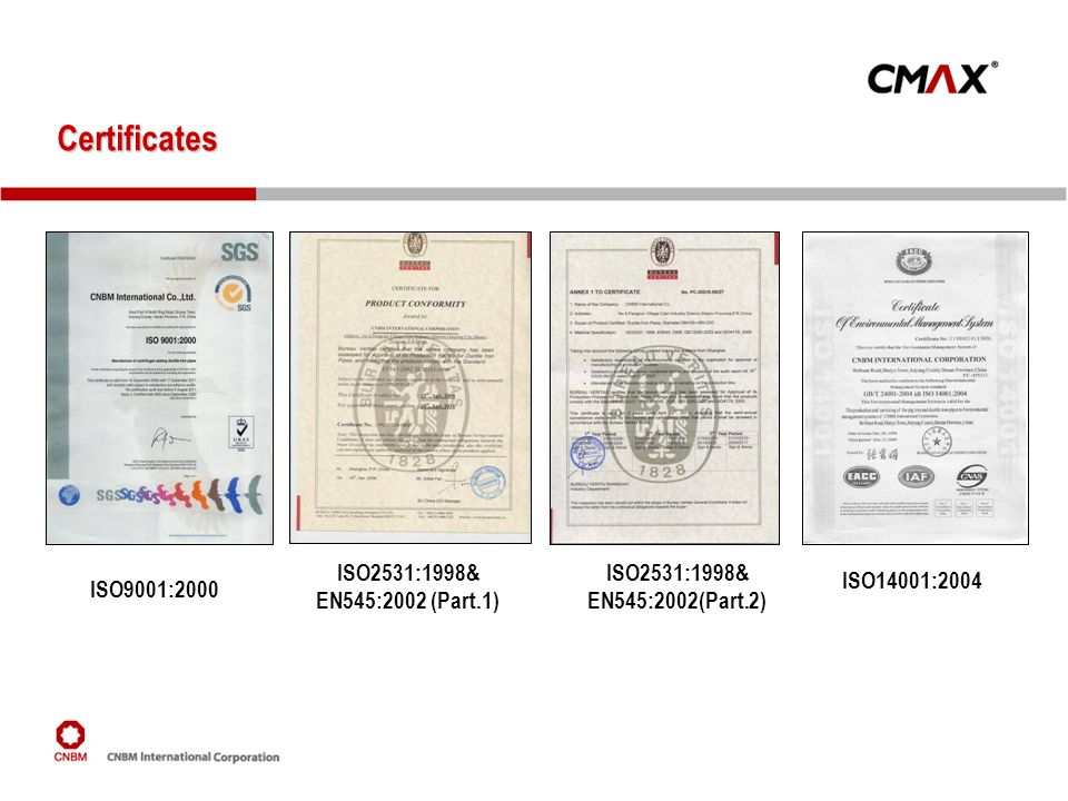 Certificates ISO2531:1998& EN545:2002 (Part.1)