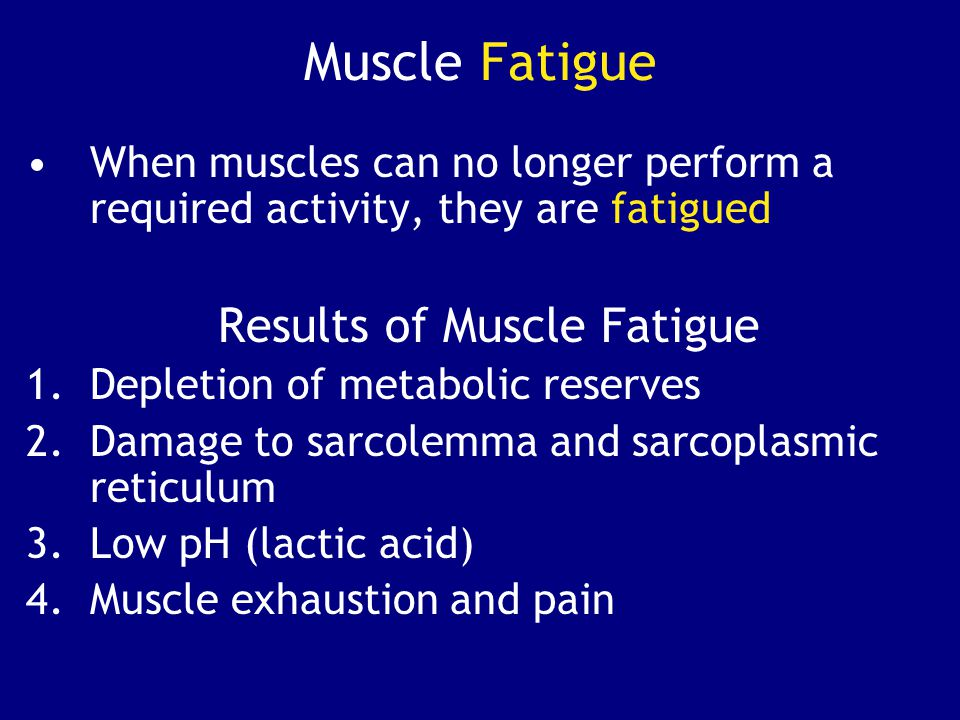 Muscle Fatigue When muscles can no longer perform a required activity, they are fatigued. Results of Muscle Fatigue.