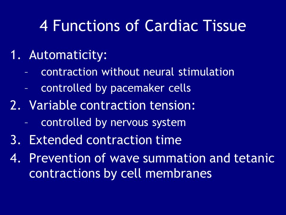 4 Functions of Cardiac Tissue