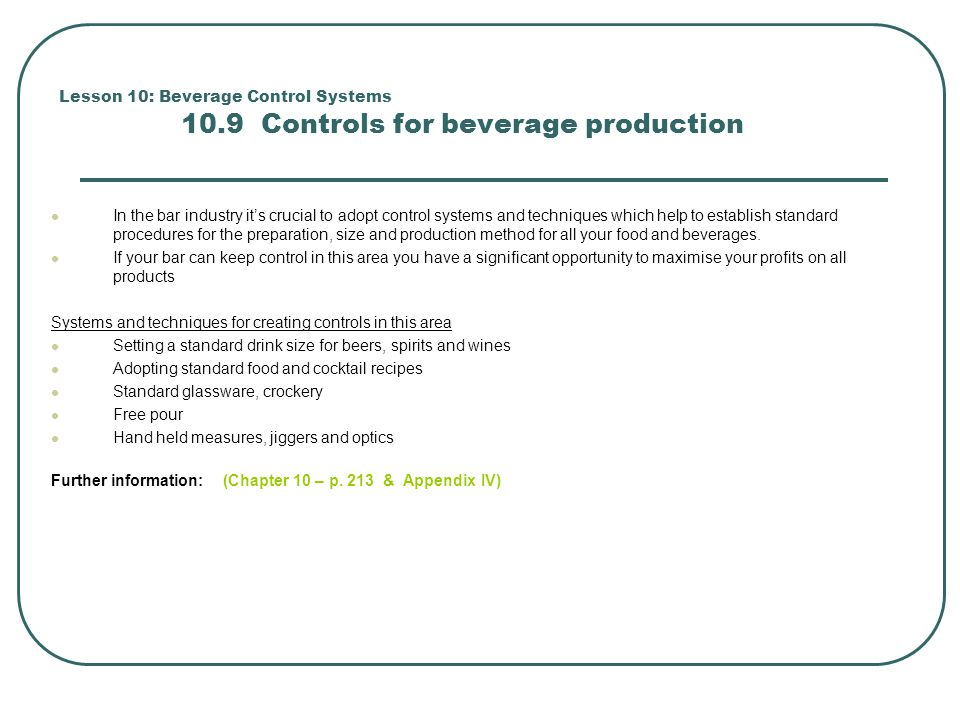 Lesson 10: Beverage Control Systems 10