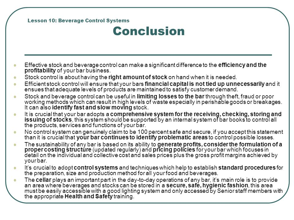 Lesson 10: Beverage Control Systems Conclusion