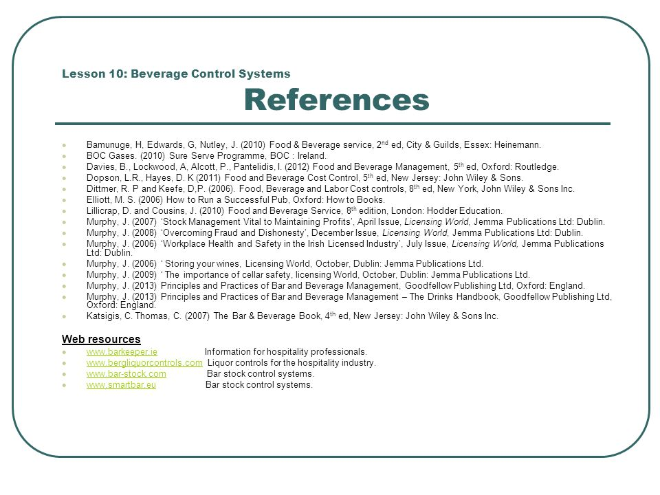 Lesson 10: Beverage Control Systems References