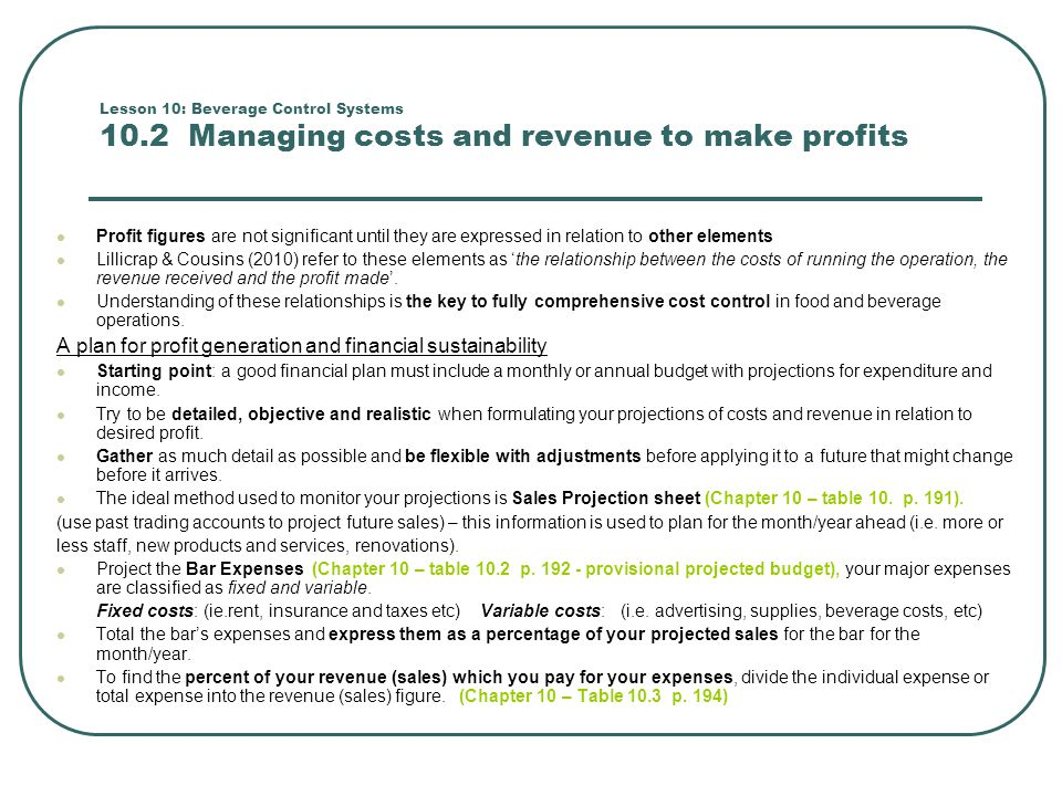 A plan for profit generation and financial sustainability