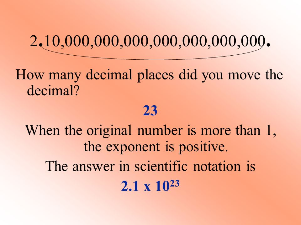 2.10,000,000,000,000,000,000,000. How many decimal places did you move the decimal 23.