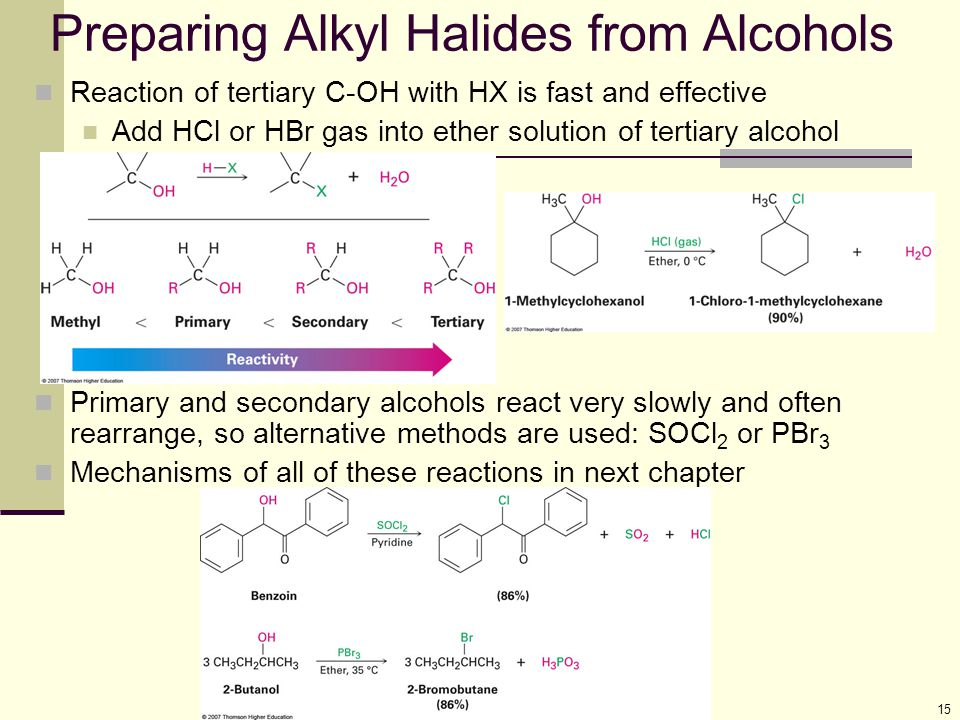 Preparing Alkyl Halides from Alcohols
