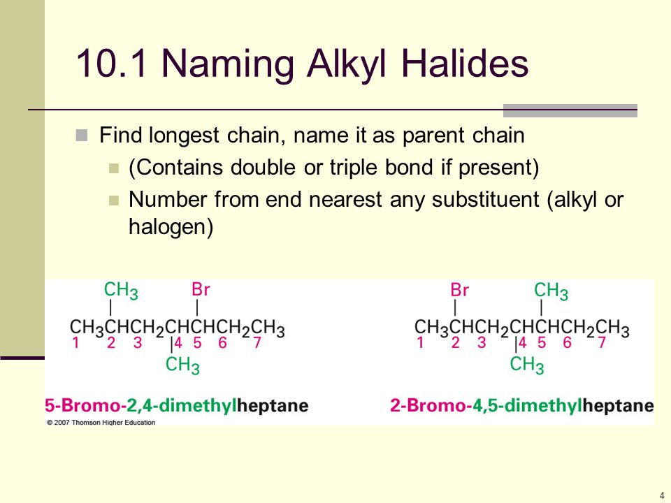 10.1 Naming Alkyl Halides Find longest chain, name it as parent chain